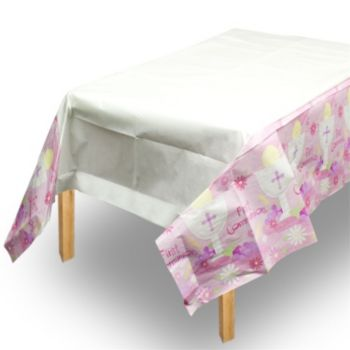 Pink First Communion Table Cover