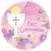 "Pink First Communion 10 12"" Plate - 18 Pack"
