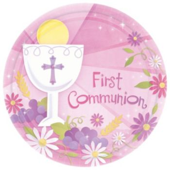 "Pink First Communion 10 12"" Plate"