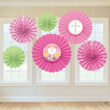 Pink First Communion Decoration Fans