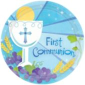 "Blue First Communion 10 12"" Plates - 18 Pack"