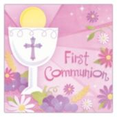 Pink First Communion Lunch Napkins - 36 Pack