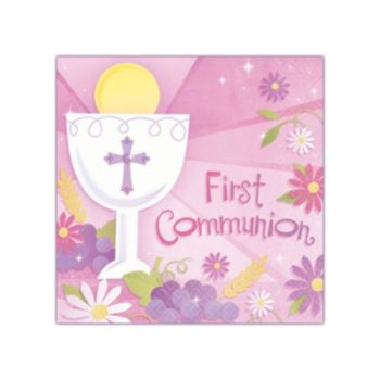 Pink First Communion Beverage Napkins