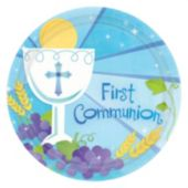 "Blue First Communion 7"" Plates - 18 Per Unit"