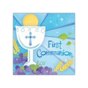 Blue First Communion Beverage Napkins