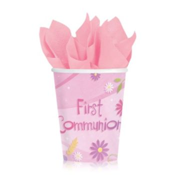 Pink First Communion 9oz Cups