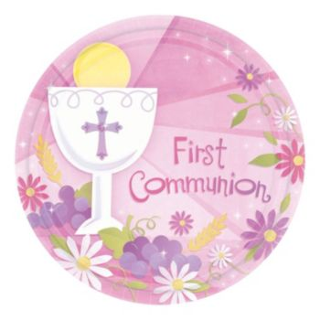 "Pink First Communion 7"" Plate"