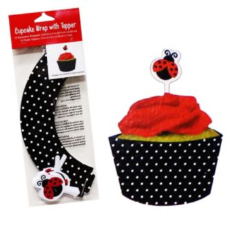 Ladybug Cupcake Wrappers and Toppers