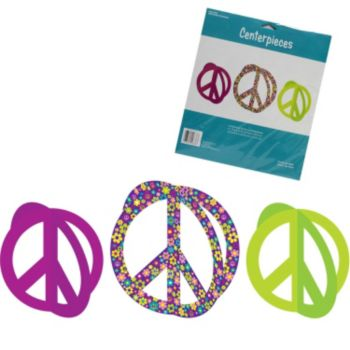 Retro Flowers Peace Sign Centerpieces