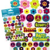 Peace Sign And Flower Birthday Stickers
