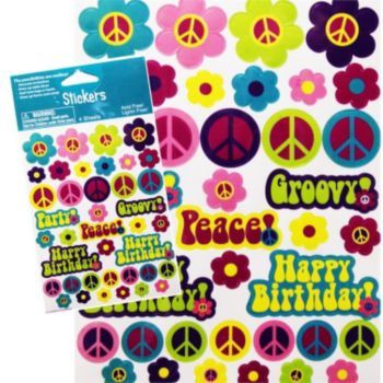 Retro Flowers Birthday Stickers