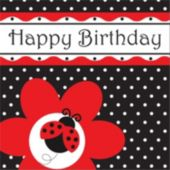 Ladybug Happy Birthday Lunch Napkin - 16 Per Unit