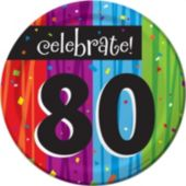"Rainbow Celebration 80th Birthday 7"" Plate - 8 Pack"