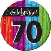 "Rainbow Celebration 70th Birthday 7"" Plate - 8 Per Unit"