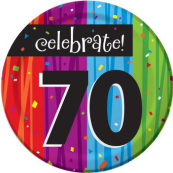 "Rainbow Celebration  70th Birthday 7"" Plate"