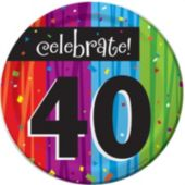 "Rainbow Celebration 40Th Birthday 7"" Plate - 8 Pack"