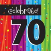 Rainbow Celebration 70th Birthday Lunch Napkin - 16 Pack