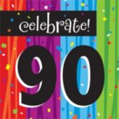 Rainbow Celebration 90th Birthday Lunch Napkins - 16 Pack
