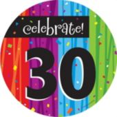 "Rainbow Celebration 30th Birthday 7"" Plate - 8 Pack"