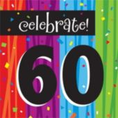 Rainbow Celebration 60th Birthday Lunch Napkins - 16 Pack