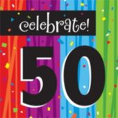 Rainbow Celebration 50th Birthday Lunch Napkins - 16 Pack