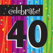 Rainbow Celebration 40th Birthday Lunch Napkins - 16 Pack