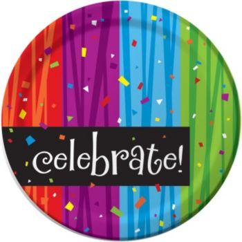 "Rainbow Celebration  8 34"" Plates"
