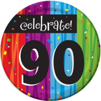 "Rainbow Celebration  90th Birthday 7"" Plates"
