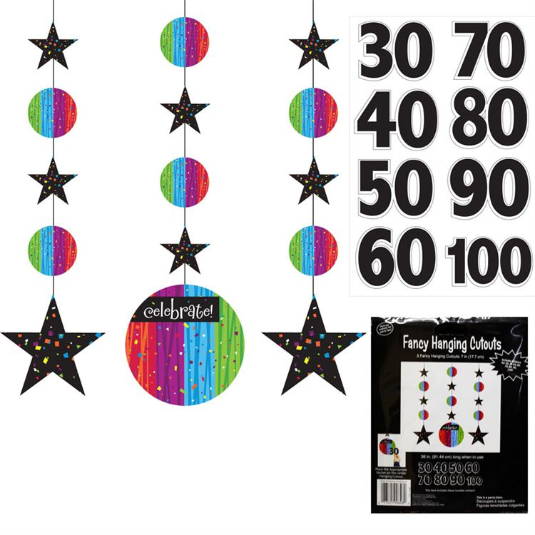 Rainbow Celebration Birthday Danglers-3 Pack DEC830316UN