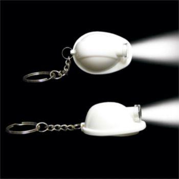 White Construction Hat LED Keychain