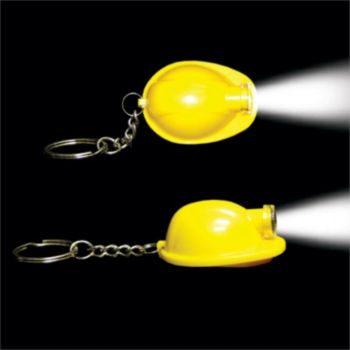 Yellow Construction Hat LED Keychain