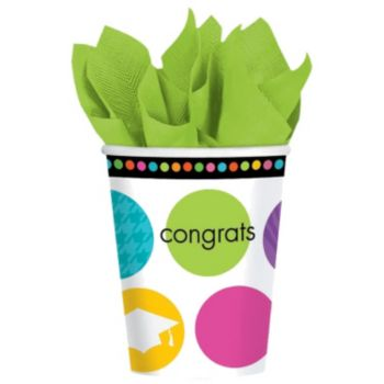 Graduation Dots  9oz Cups