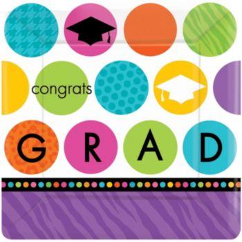 "Graduation Dots  7"" Plates"