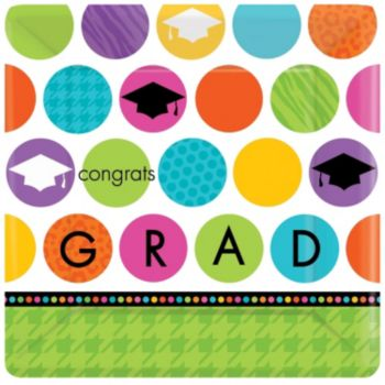 "Graduation Dots   10"" Square Plates"
