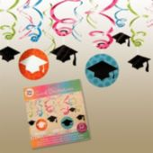 Graduation Dots Swirl Decorations-12 Pack