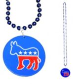 "Democrat Beaded 33"" Necklaces-12 Pack"