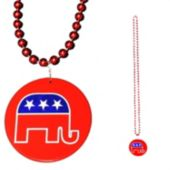 "Republican Bead Necklaces-33""-12 Pack"