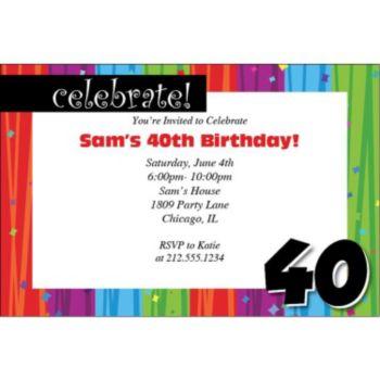 Rainbow Celebration 40 Personalized Invitations