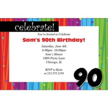 Rainbow Celebration 90 Personalized Invitations