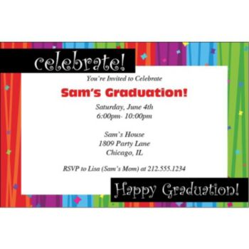 Rainbow Celebration Graduation Invitations