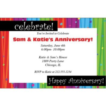 Rainbow Celebration Anniversary Invitations