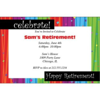Rainbow Retirement Personalized Invitations