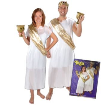White Toga  with Gold Sash