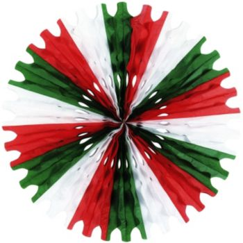 Red, White & Green  Tissue Fan