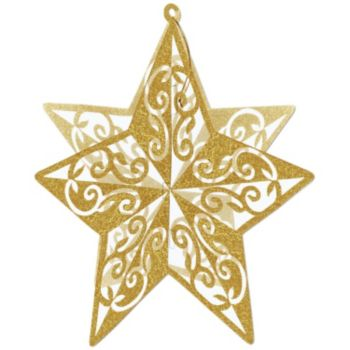 Gold Star Glitter 3-D Decoration