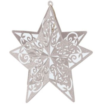 Silver Star Glitter  3-D Decoration