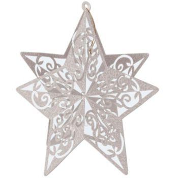 Silver Star Glitter  3-D Decoration