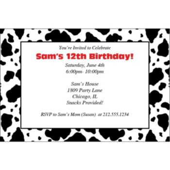 Cow Print Personalized Invitations
