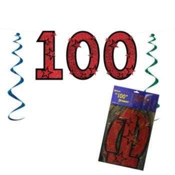 100 Red Glitter  String Banner