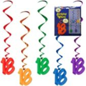 18 Rainbow Whirl Decorations-5 Pack